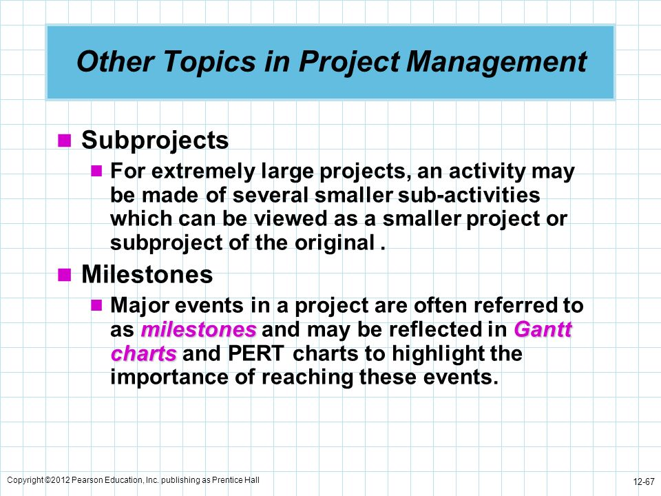 Other Topics in Project Management