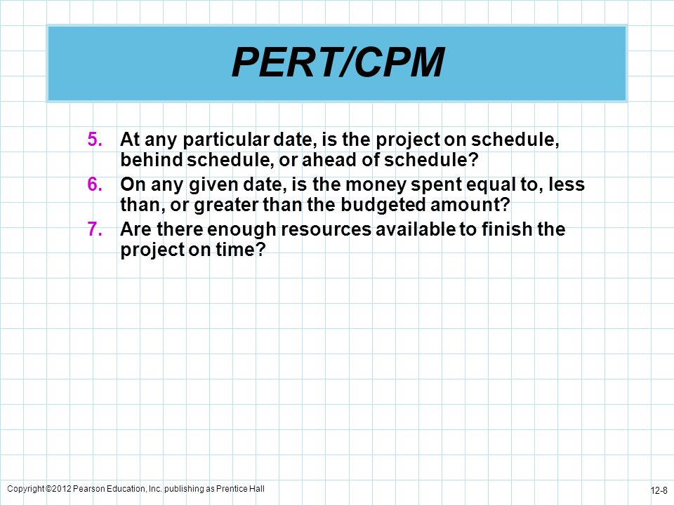 PERT/CPM At any particular date, is the project on schedule, behind schedule, or ahead of schedule