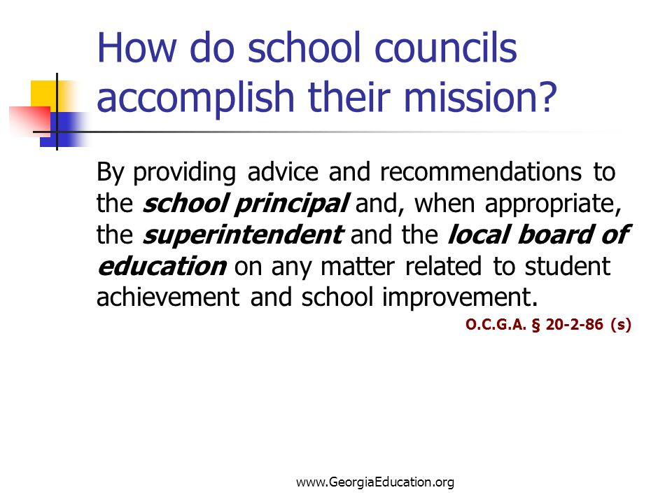 How do school councils accomplish their mission