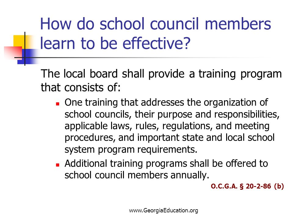 How do school council members learn to be effective