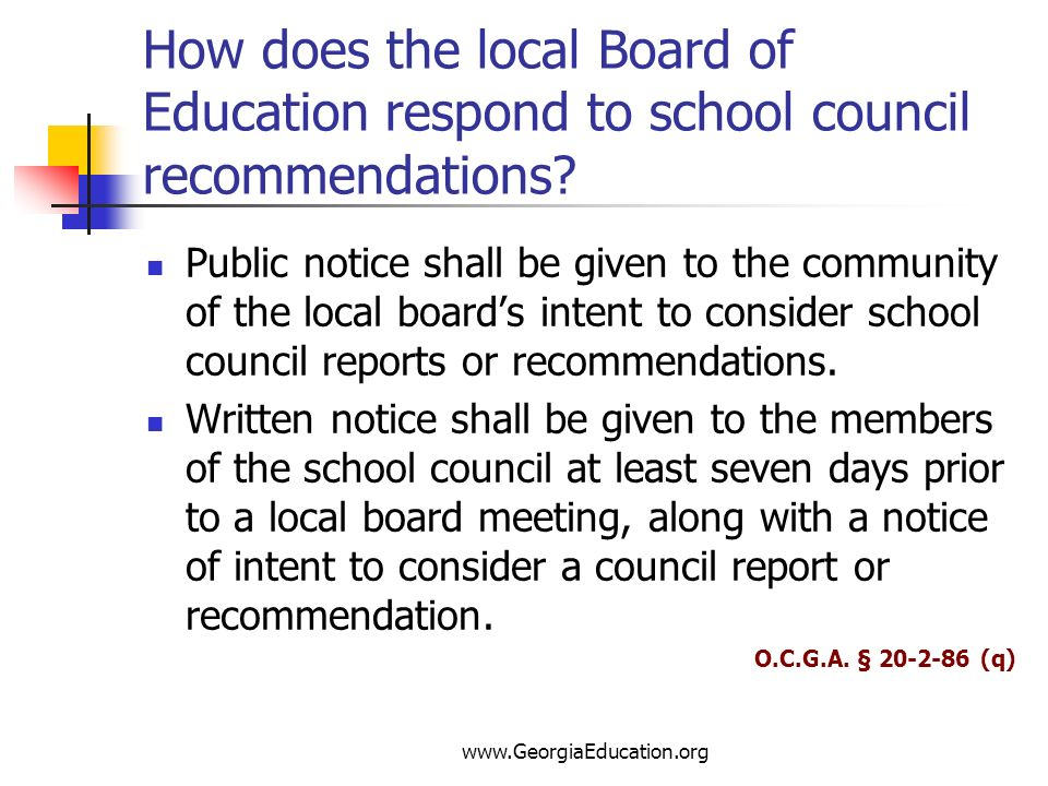 How does the local Board of Education respond to school council recommendations