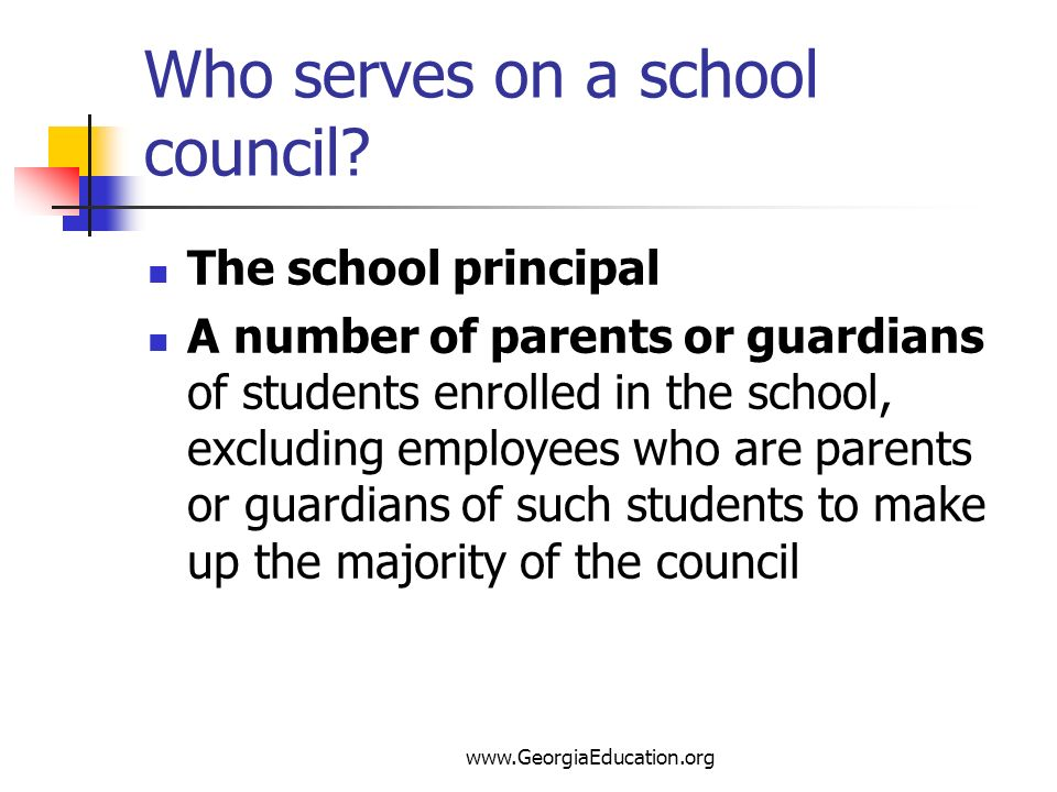 Who serves on a school council