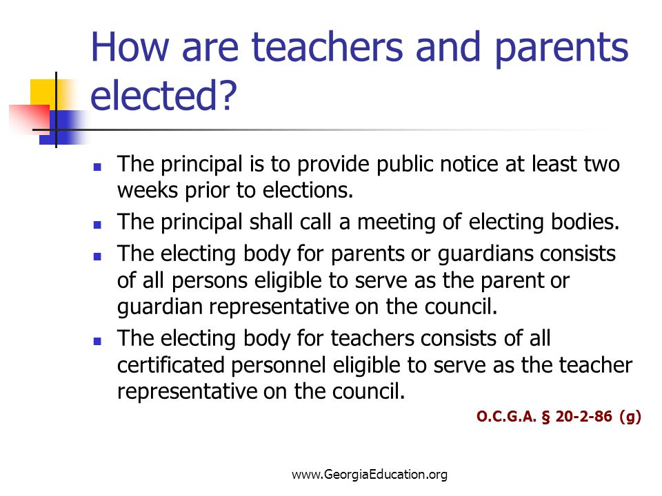 How are teachers and parents elected