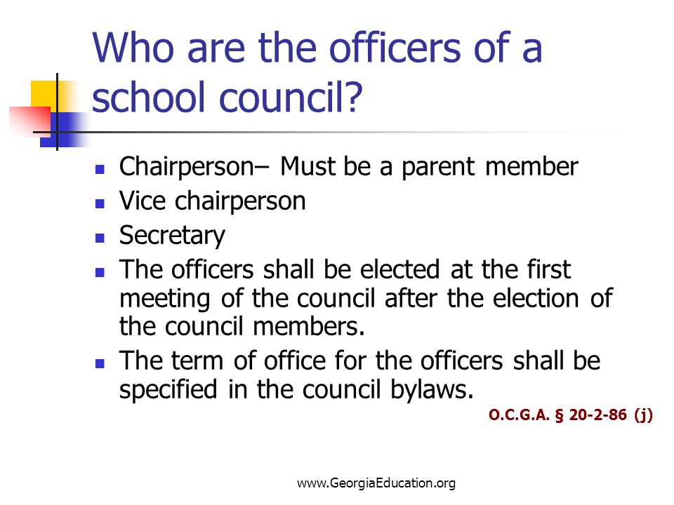 Who are the officers of a school council