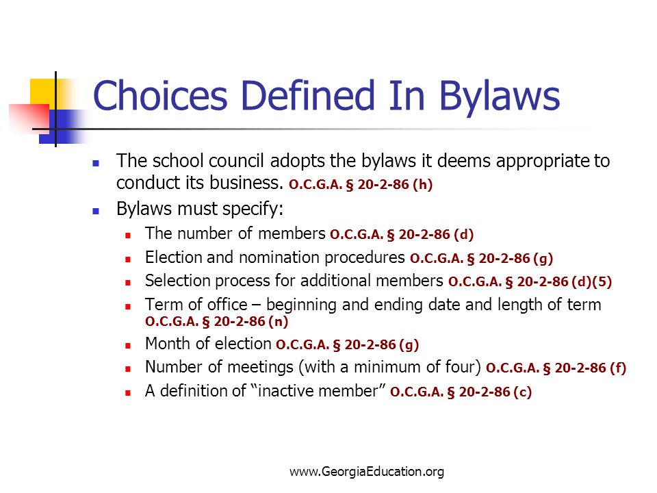 Choices Defined In Bylaws