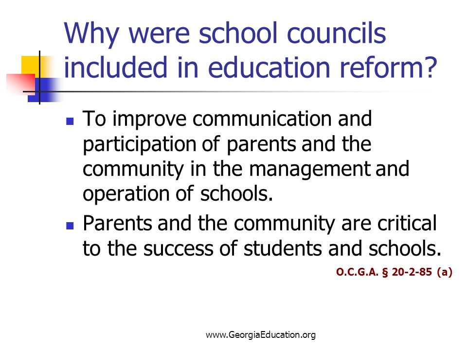Why were school councils included in education reform