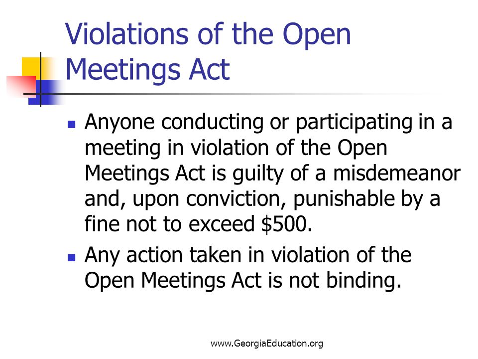 Violations of the Open Meetings Act