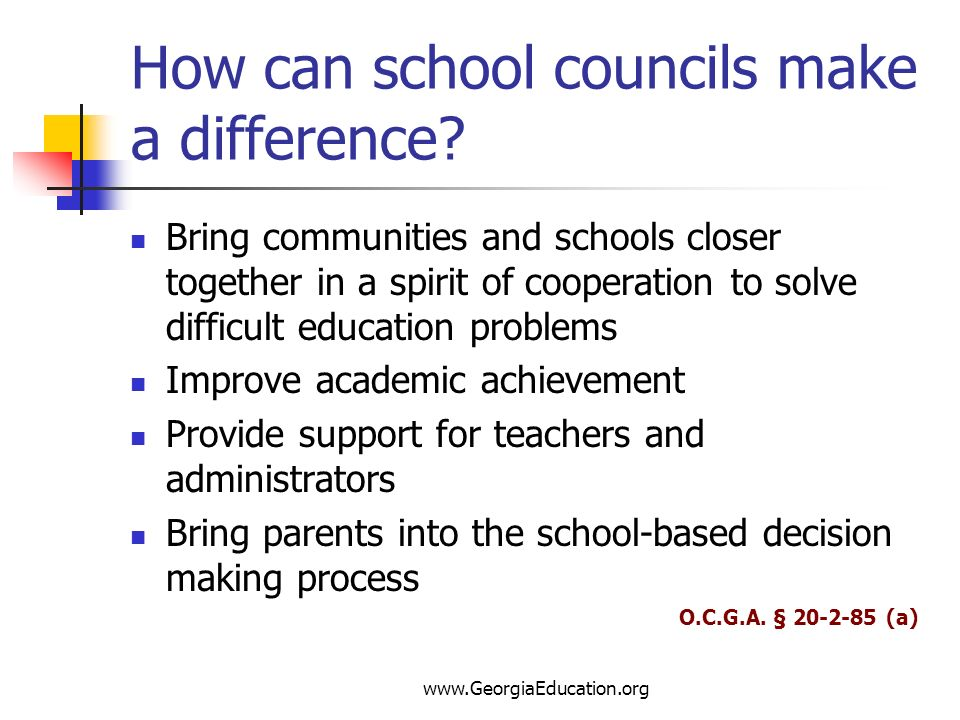 How can school councils make a difference