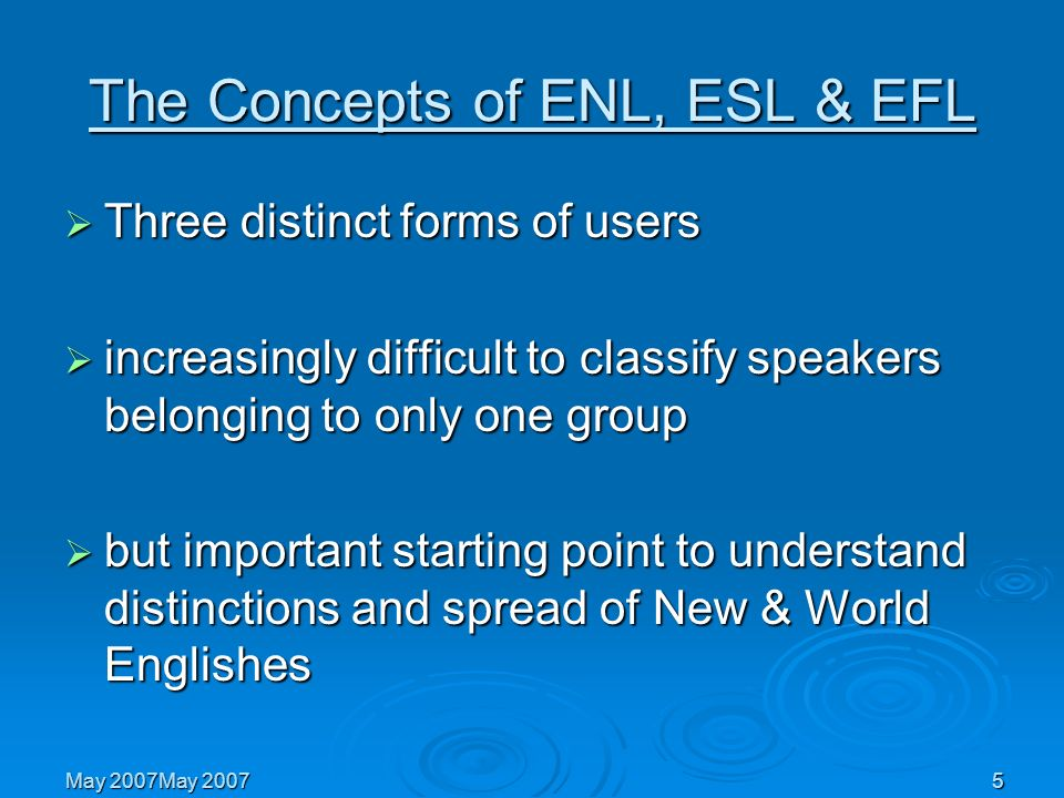 The Concepts of ENL, ESL & EFL