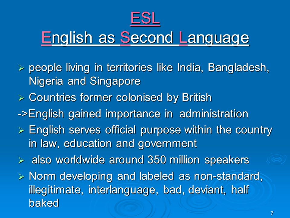 ESL English as Second Language