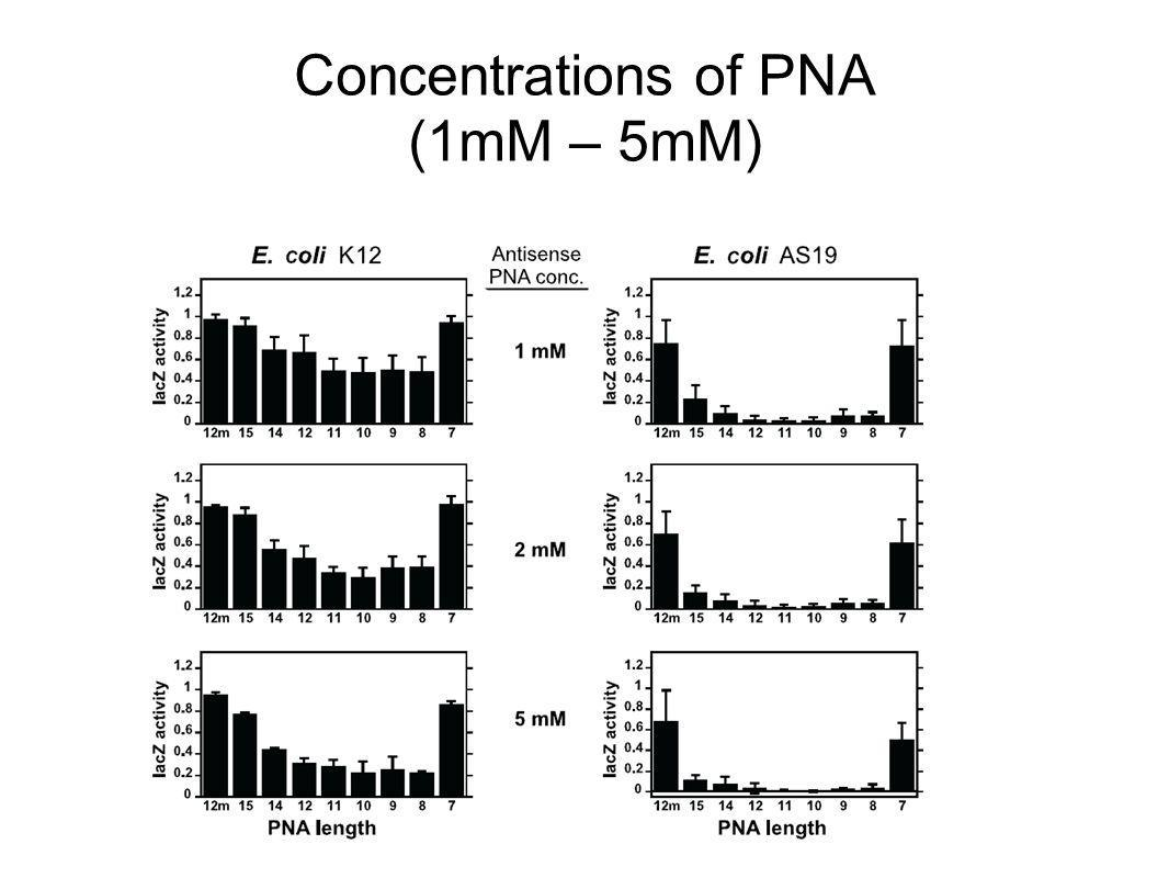 Concentrations of PNA (1mM – 5mM)