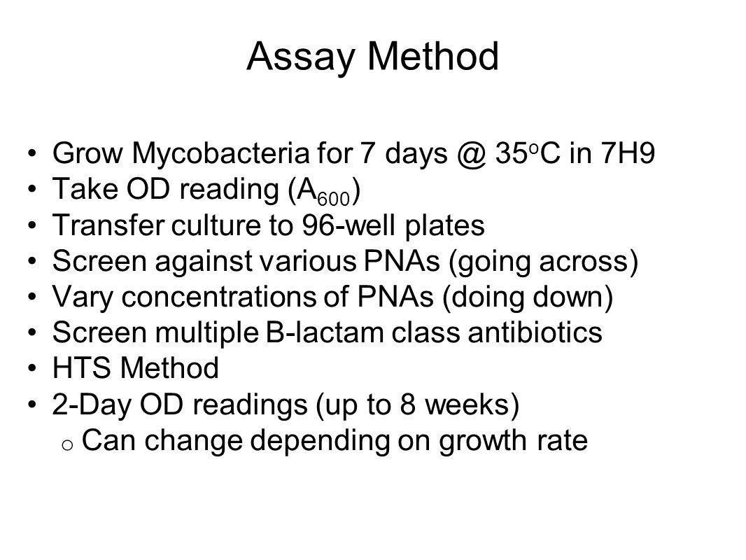 Assay Method Grow Mycobacteria for 7 days @ 35oC in 7H9