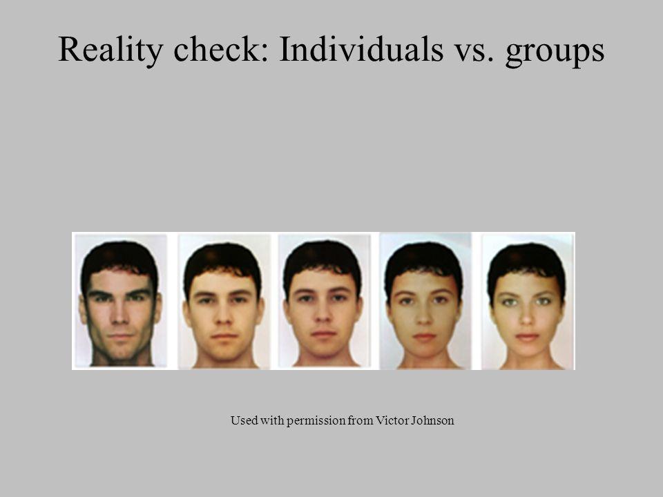 Reality check: Individuals vs. groups