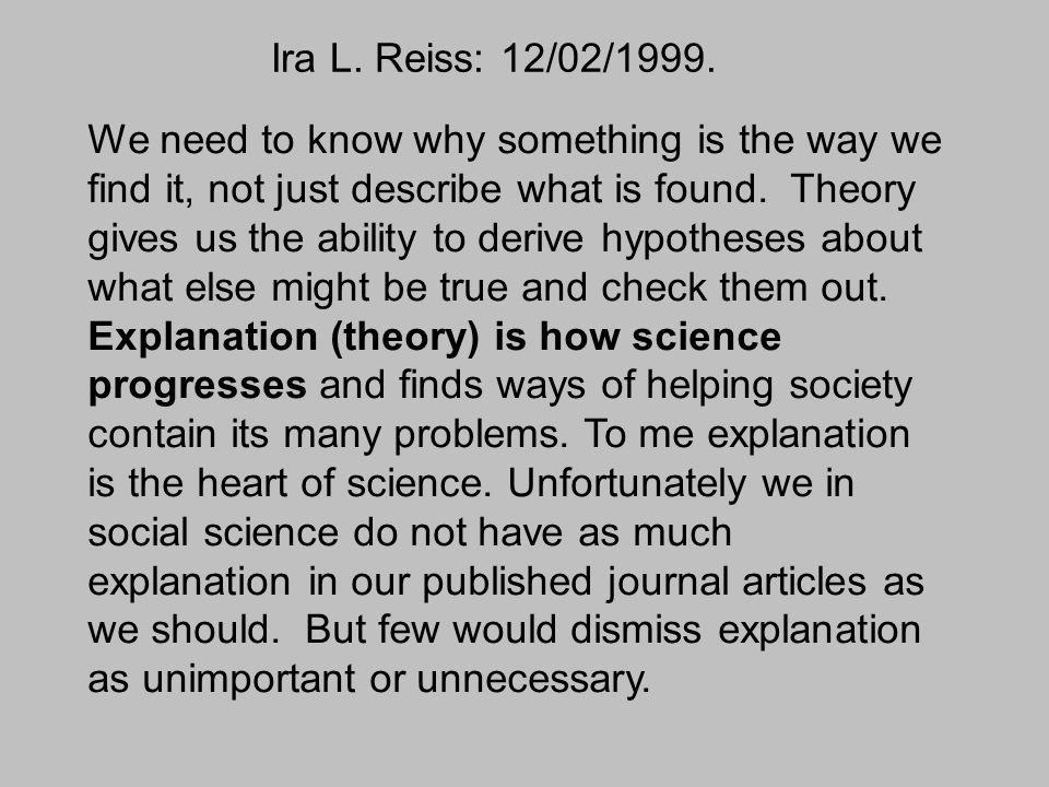 Ira L. Reiss: 12/02/1999.