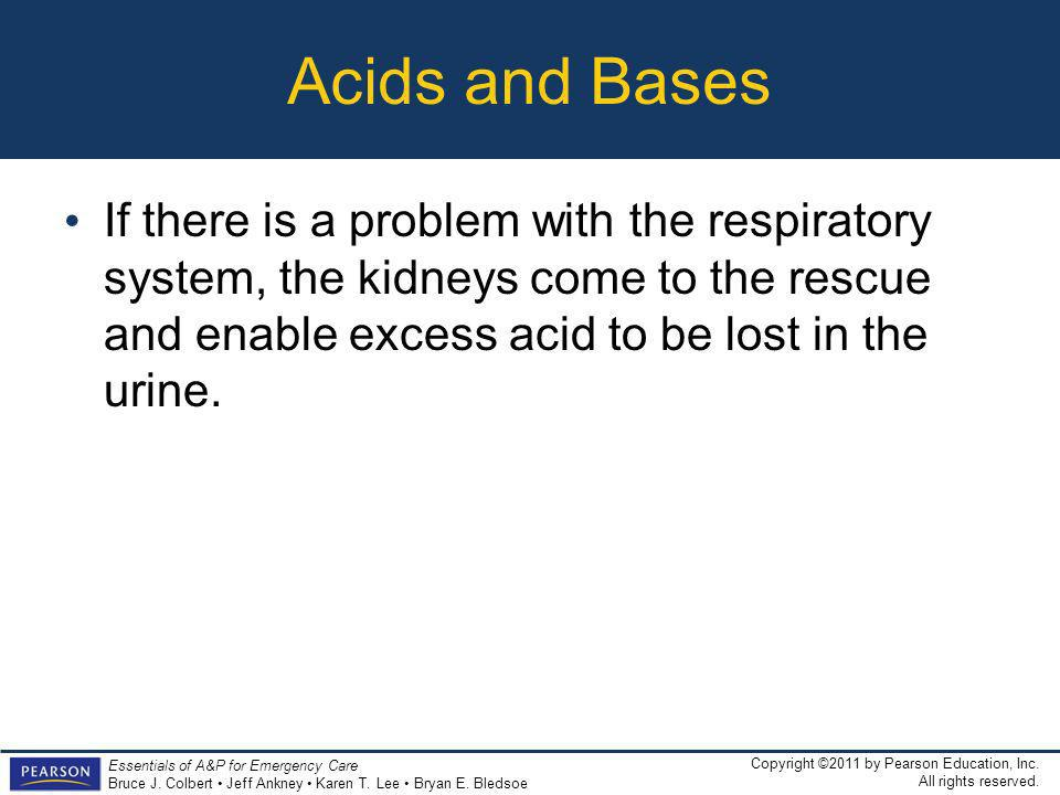 Acids and Bases If there is a problem with the respiratory system, the kidneys come to the rescue and enable excess acid to be lost in the urine.