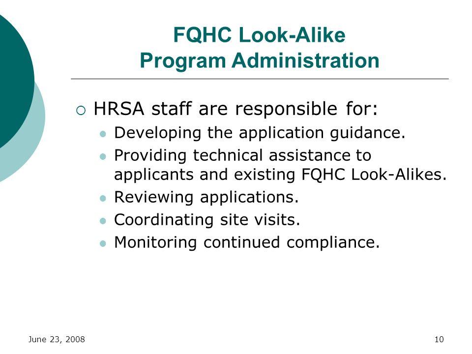 FQHC Look-Alike Program Administration