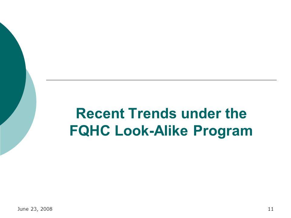 Recent Trends under the FQHC Look-Alike Program