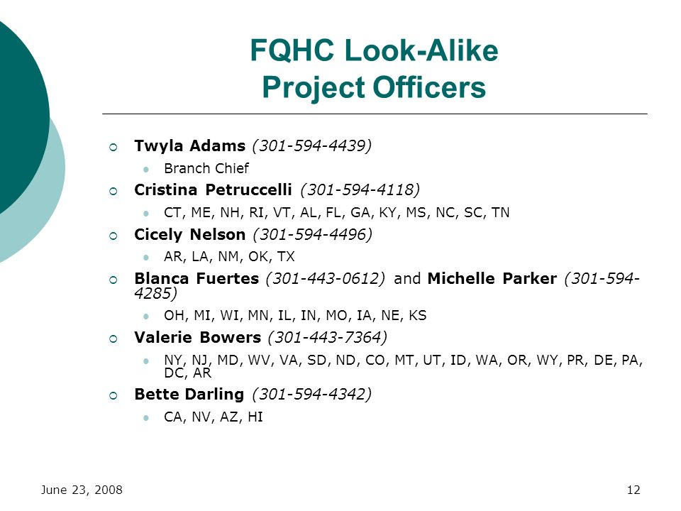 FQHC Look-Alike Project Officers