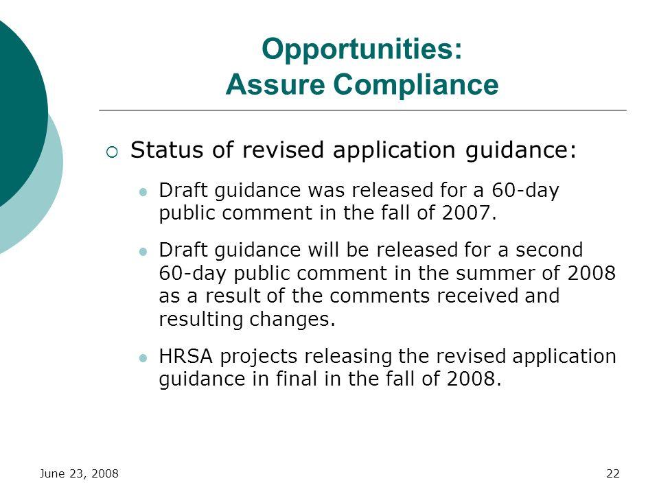 Opportunities: Assure Compliance