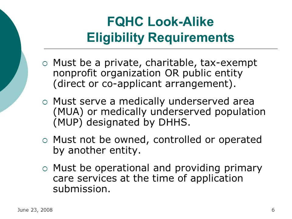 FQHC Look-Alike Eligibility Requirements