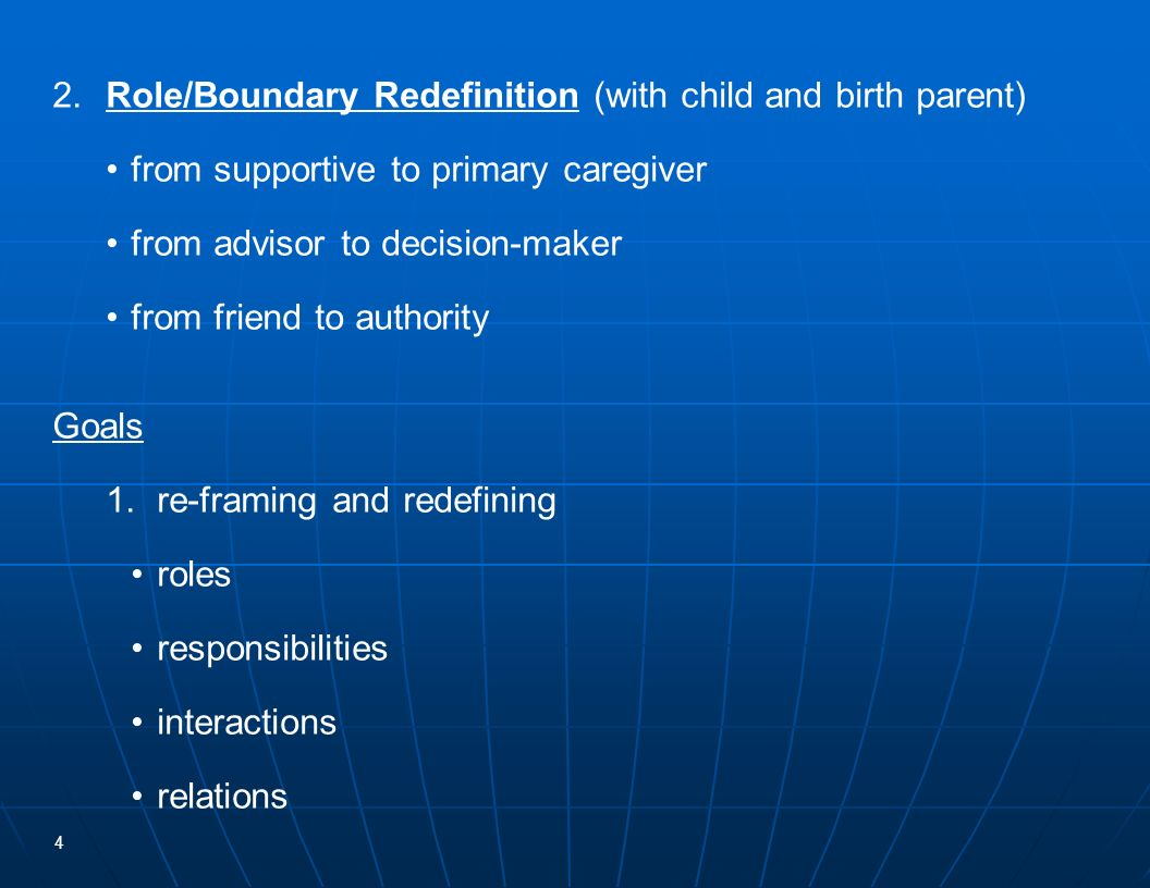 2. Role/Boundary Redefinition (with child and birth parent)