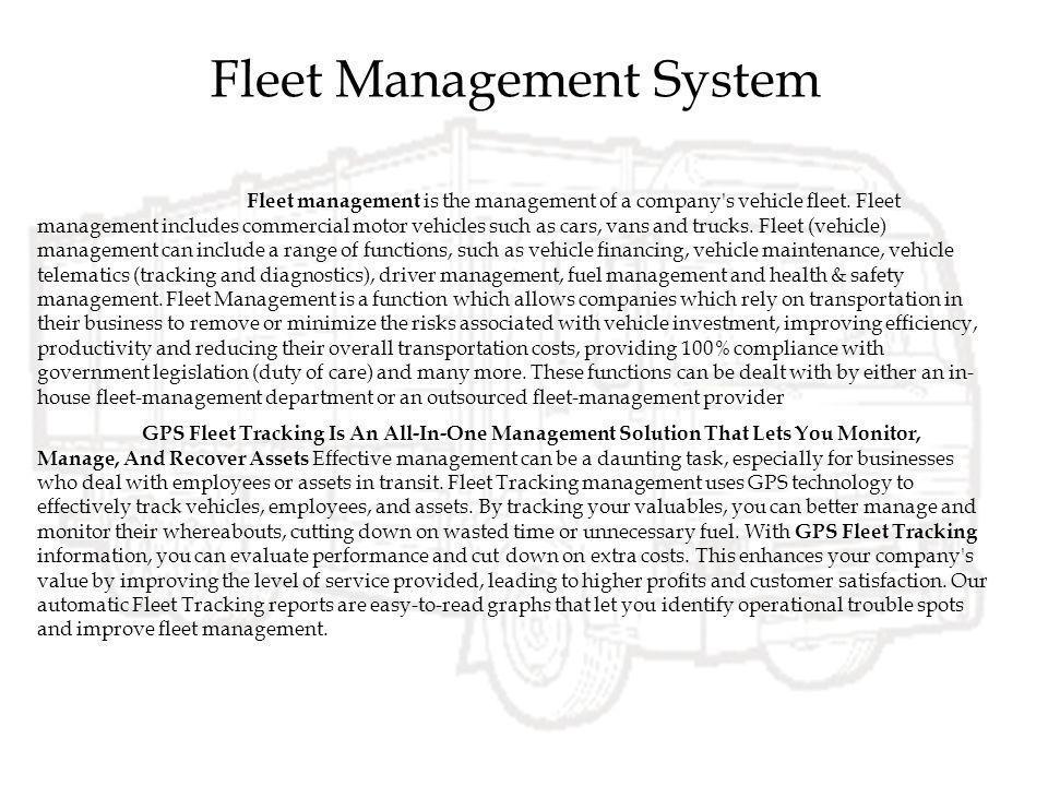 Fleet Management System Ppt Video Online Download