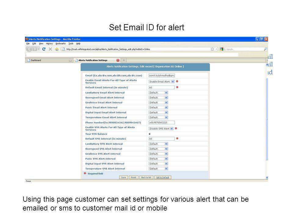 Set Email ID for alert