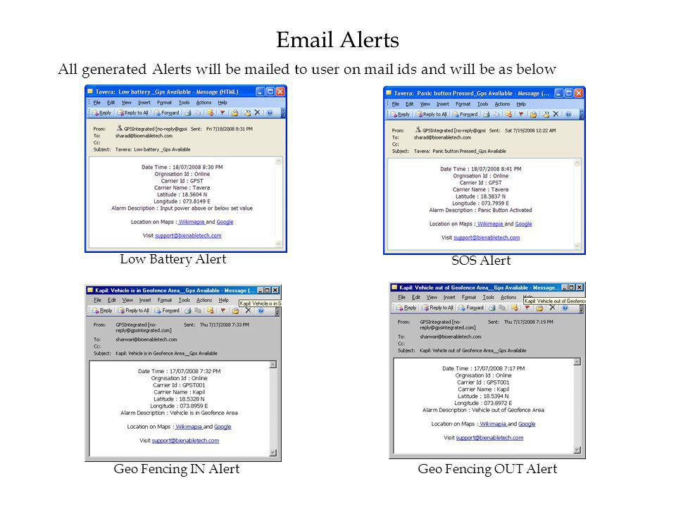 Email Alerts All generated Alerts will be mailed to user on mail ids and will be as below. Low Battery Alert.