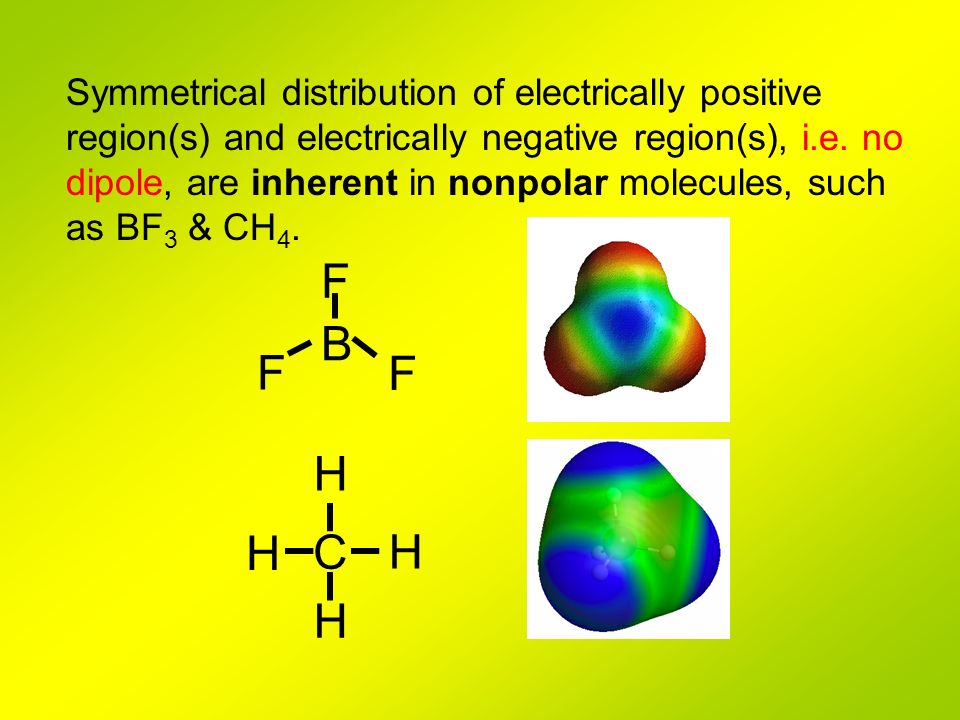 Symmetrical distribution of electrically positive region(s) and electrically negative region(s), i.e. no dipole, are inherent in nonpolar molecules, such as BF3 & CH4.