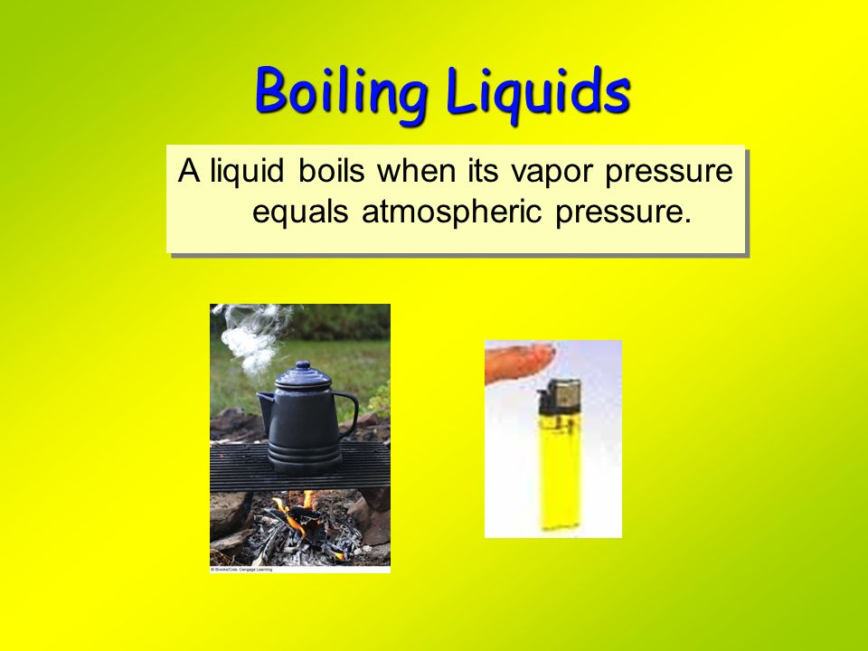 A liquid boils when its vapor pressure equals atmospheric pressure.