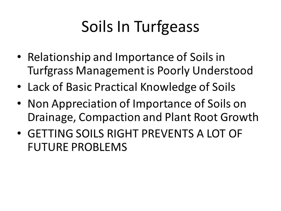 Soils In TurfgeassRelationship and Importance of Soils in Turfgrass Management is Poorly Understood.