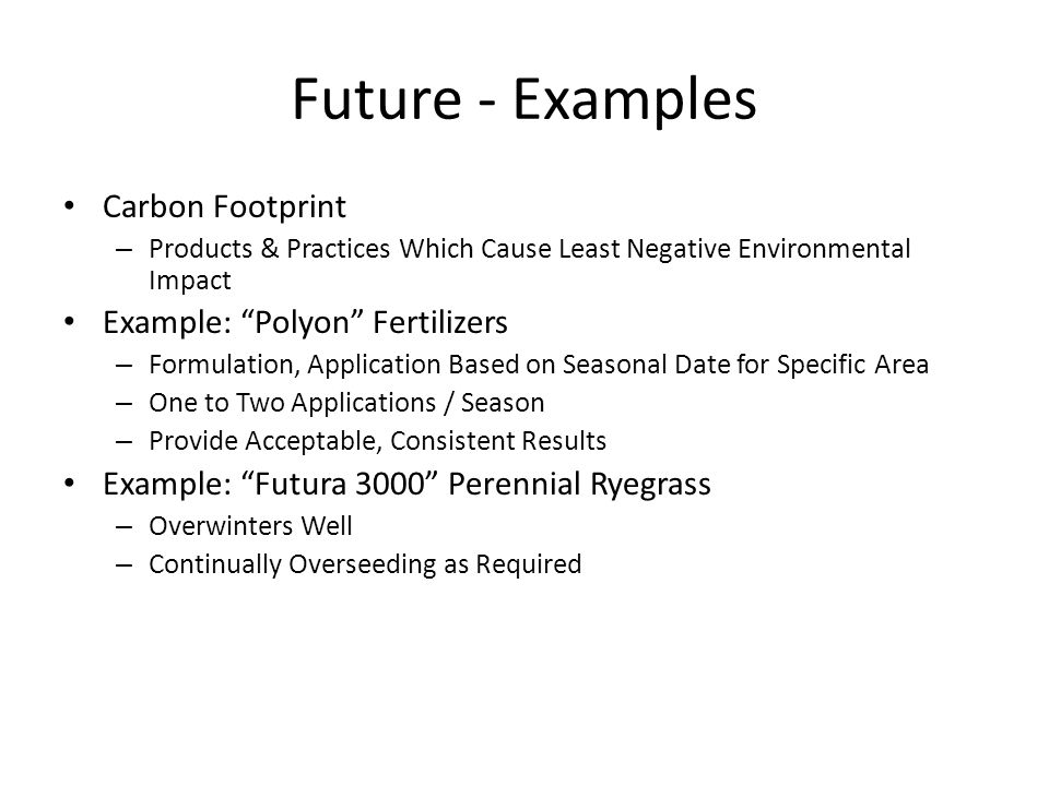 Future - Examples Carbon Footprint Example: Polyon Fertilizers