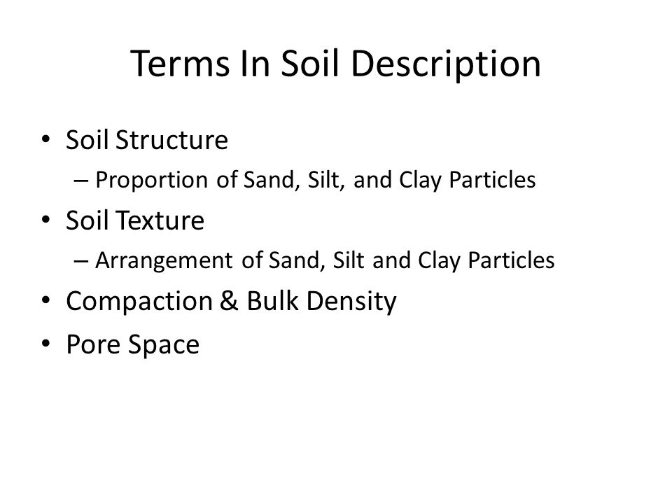 Terms In Soil Description