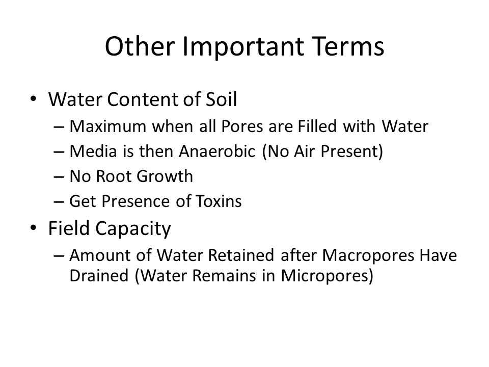 Other Important Terms Water Content of Soil Field Capacity