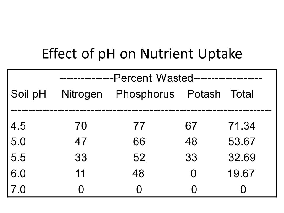 Effect of pH on Nutrient Uptake