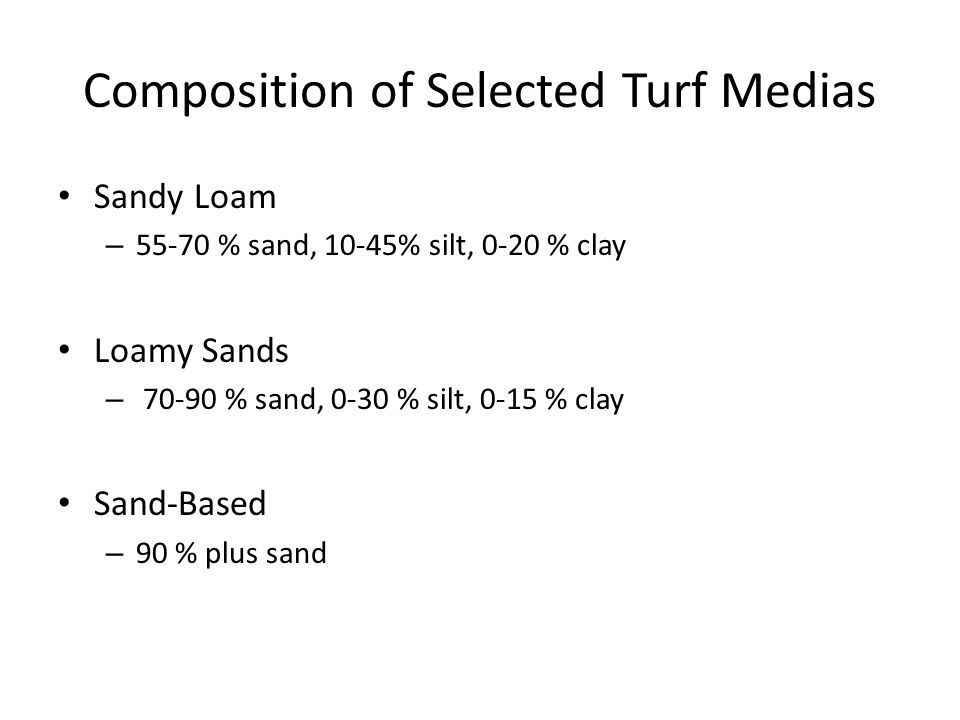 Composition of Selected Turf Medias