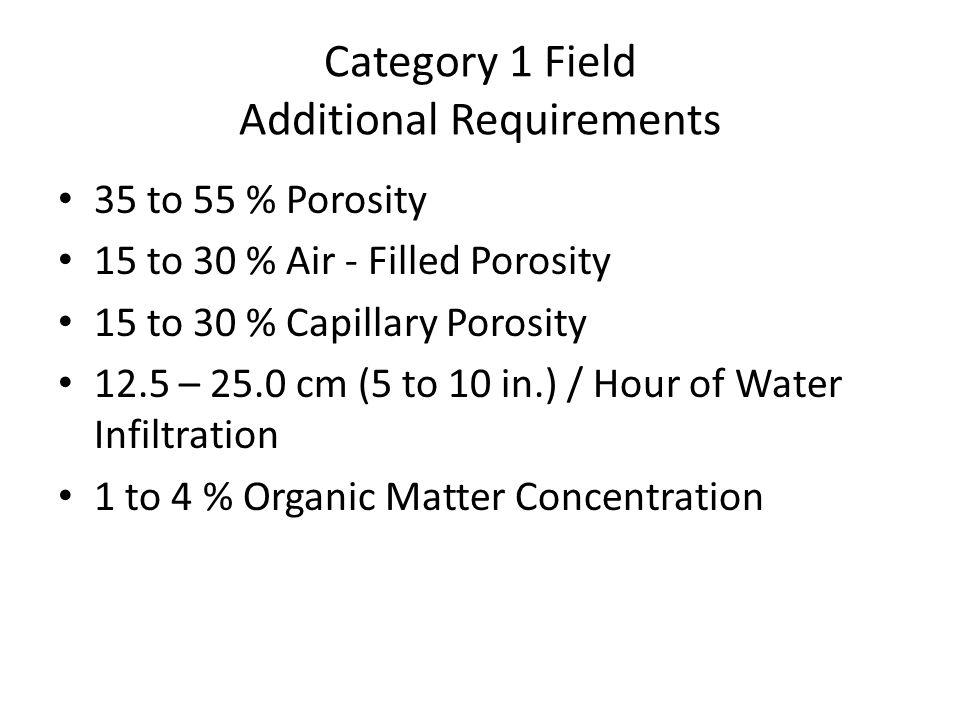 Category 1 Field Additional Requirements