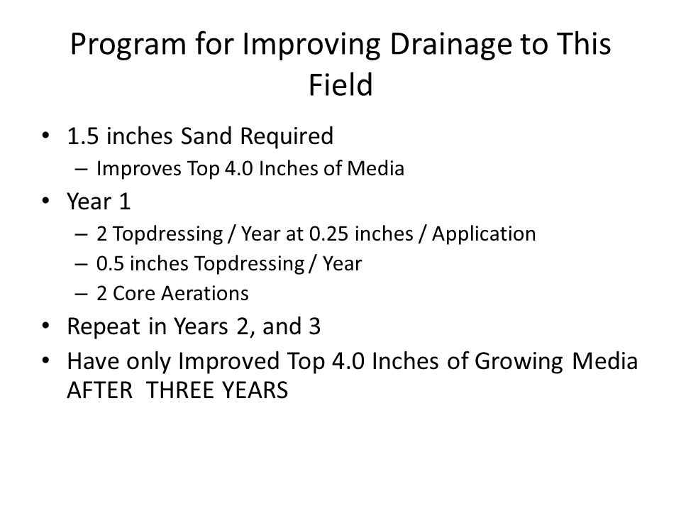 Program for Improving Drainage to This Field