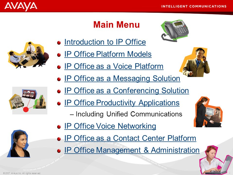 Main Menu Introduction to IP Office IP Office Platform Models