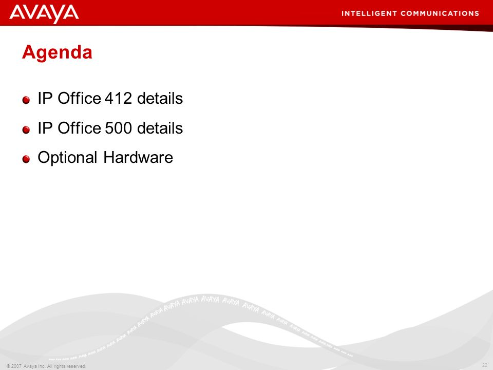 Agenda IP Office 412 details IP Office 500 details Optional Hardware