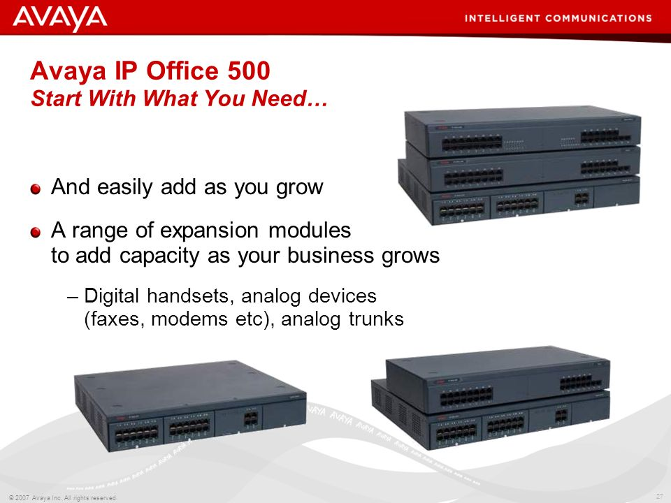 Avaya IP Office 500 Start With What You Need…