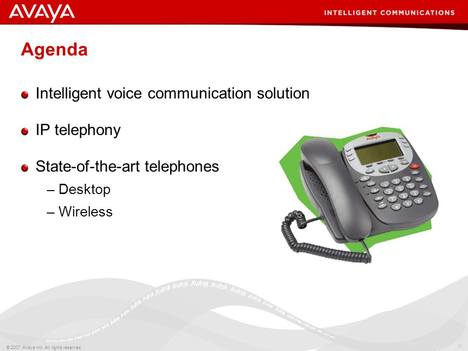 Agenda Intelligent voice communication solution IP telephony