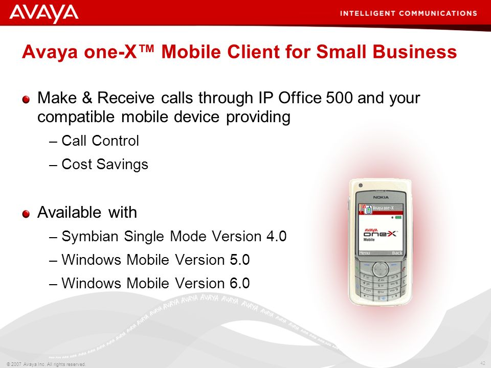 Avaya one-X™ Mobile Client for Small Business