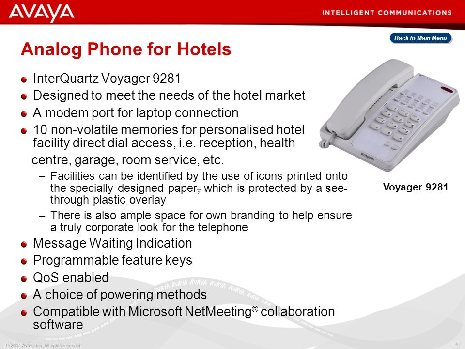 Analog Phone for Hotels