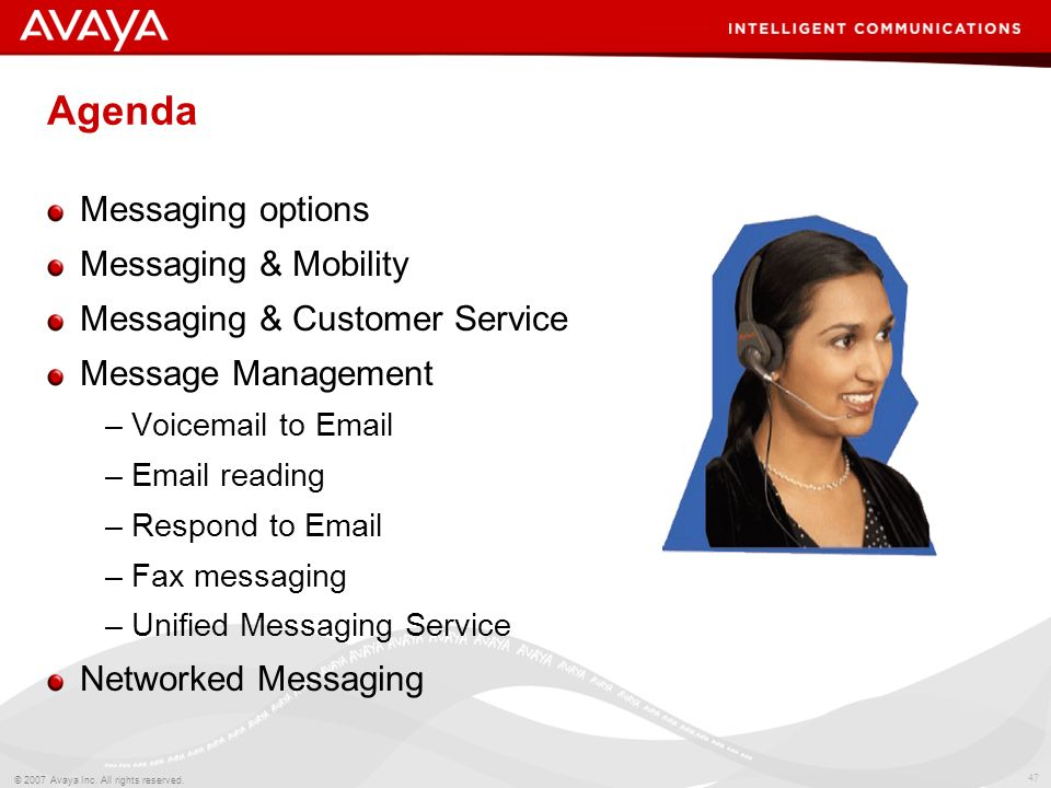 Agenda Messaging options Messaging & Mobility