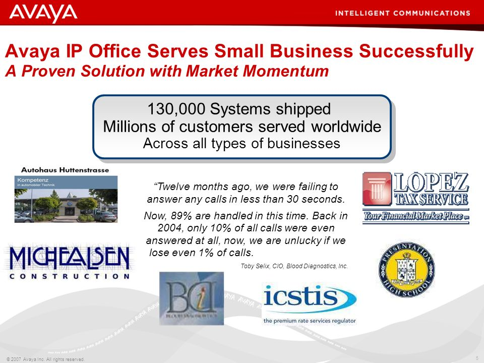 Avaya IP Office Serves Small Business Successfully A Proven Solution with Market Momentum