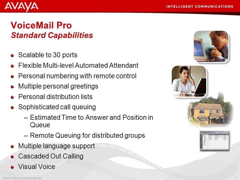 VoiceMail Pro Standard Capabilities