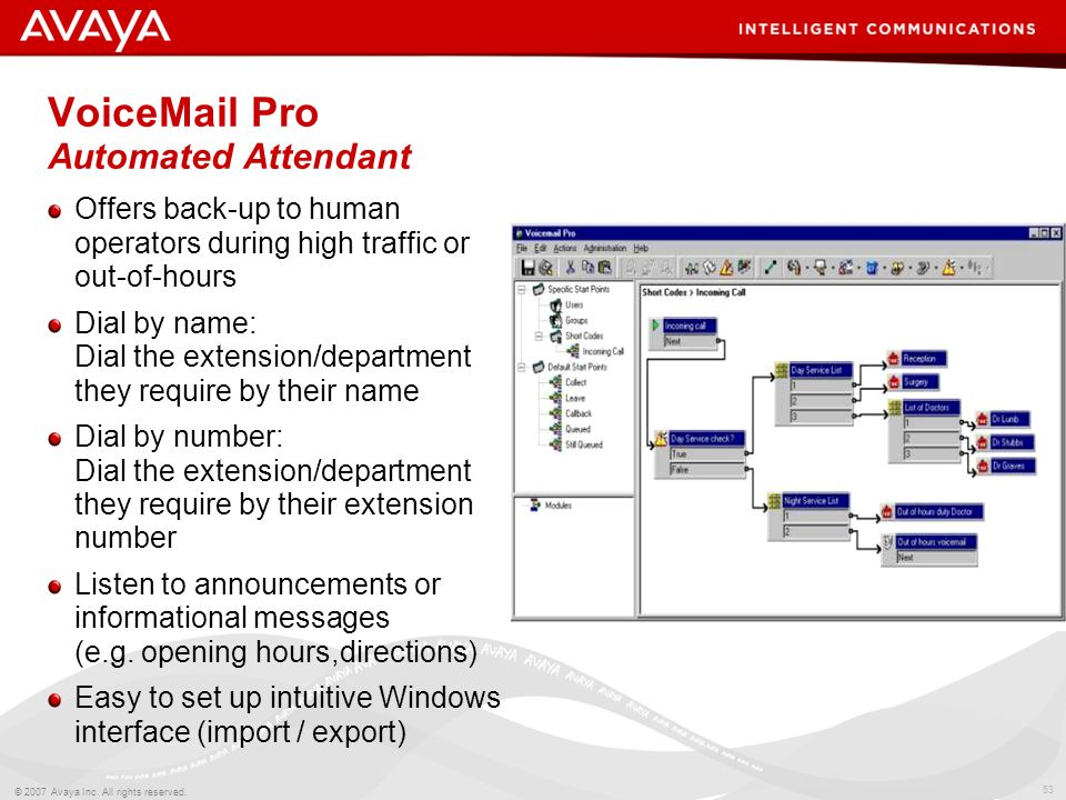 VoiceMail Pro Automated Attendant