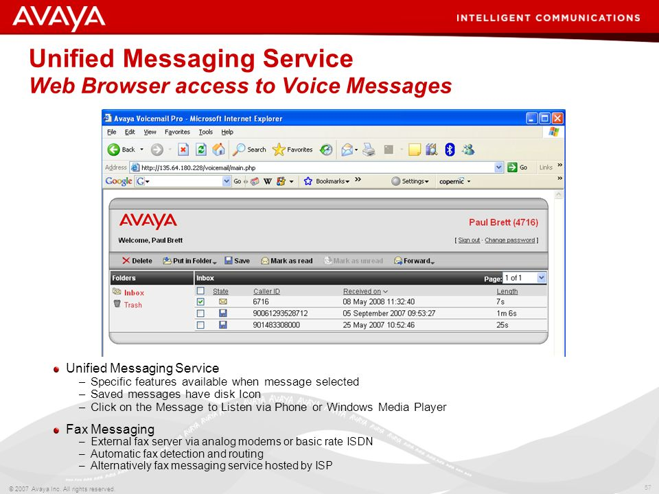 Unified Messaging Service Web Browser access to Voice Messages