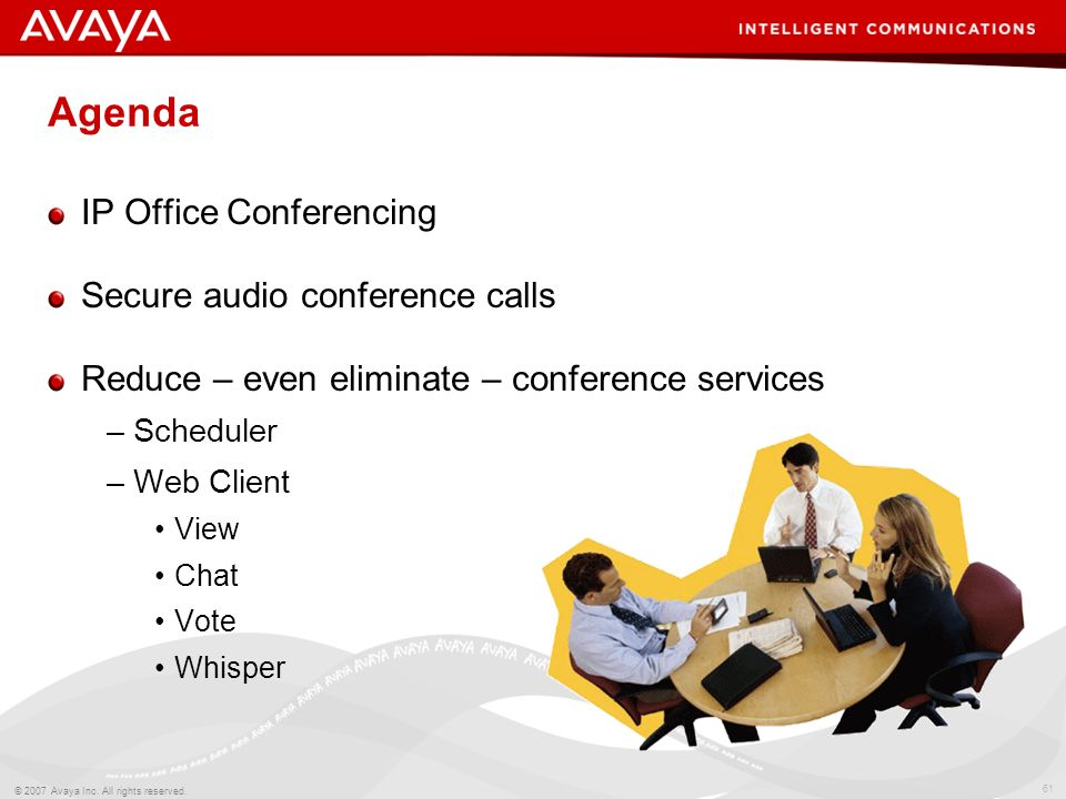 Agenda IP Office Conferencing Secure audio conference calls